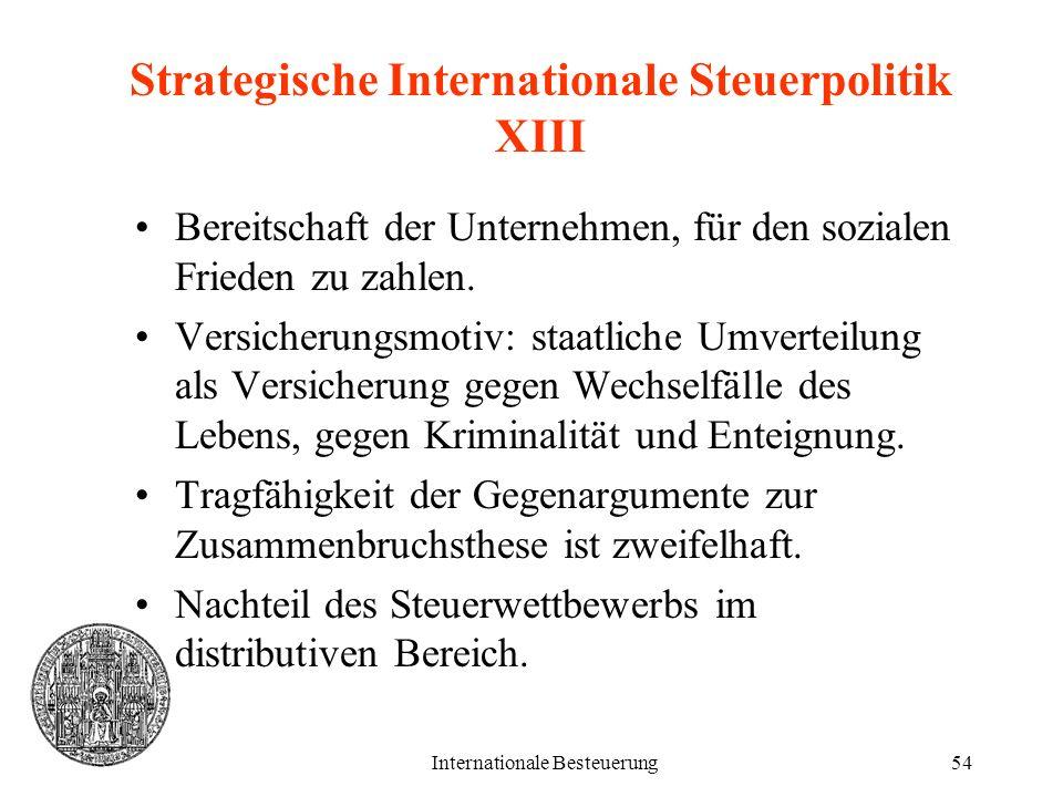 Internationale Besteuerung54 Strategische Internationale Steuerpolitik XIII Bereitschaft der Unternehmen, für den sozialen Frieden zu zahlen. Versiche