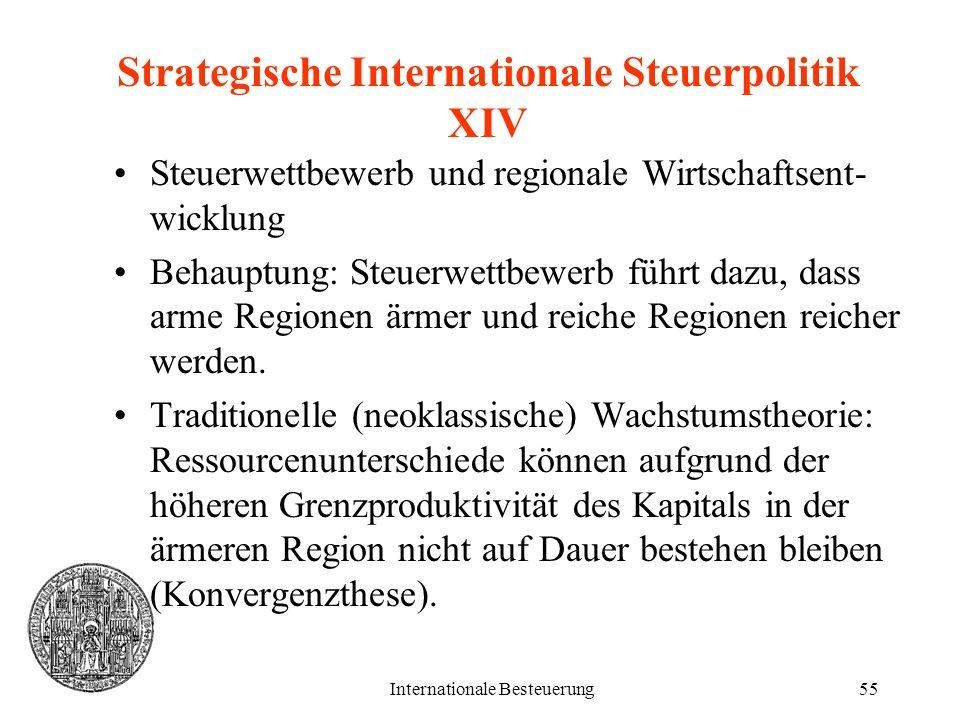 Internationale Besteuerung55 Strategische Internationale Steuerpolitik XIV Steuerwettbewerb und regionale Wirtschaftsent- wicklung Behauptung: Steuerw