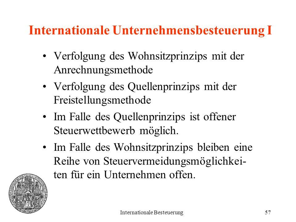 Internationale Besteuerung57 Internationale Unternehmensbesteuerung I Verfolgung des Wohnsitzprinzips mit der Anrechnungsmethode Verfolgung des Quelle