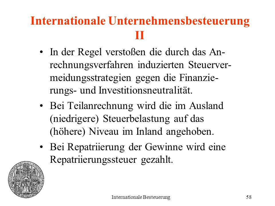 Internationale Besteuerung58 Internationale Unternehmensbesteuerung II In der Regel verstoßen die durch das An- rechnungsverfahren induzierten Steuerv