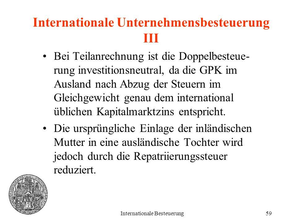 Internationale Besteuerung59 Internationale Unternehmensbesteuerung III Bei Teilanrechnung ist die Doppelbesteue- rung investitionsneutral, da die GPK