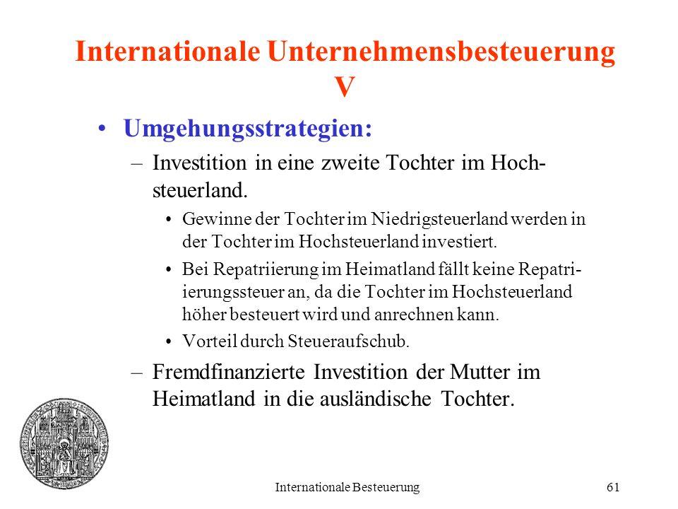 Internationale Besteuerung61 Internationale Unternehmensbesteuerung V Umgehungsstrategien: –Investition in eine zweite Tochter im Hoch- steuerland. Ge