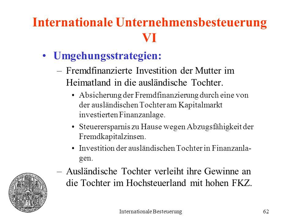 Internationale Besteuerung62 Internationale Unternehmensbesteuerung VI Umgehungsstrategien: –Fremdfinanzierte Investition der Mutter im Heimatland in