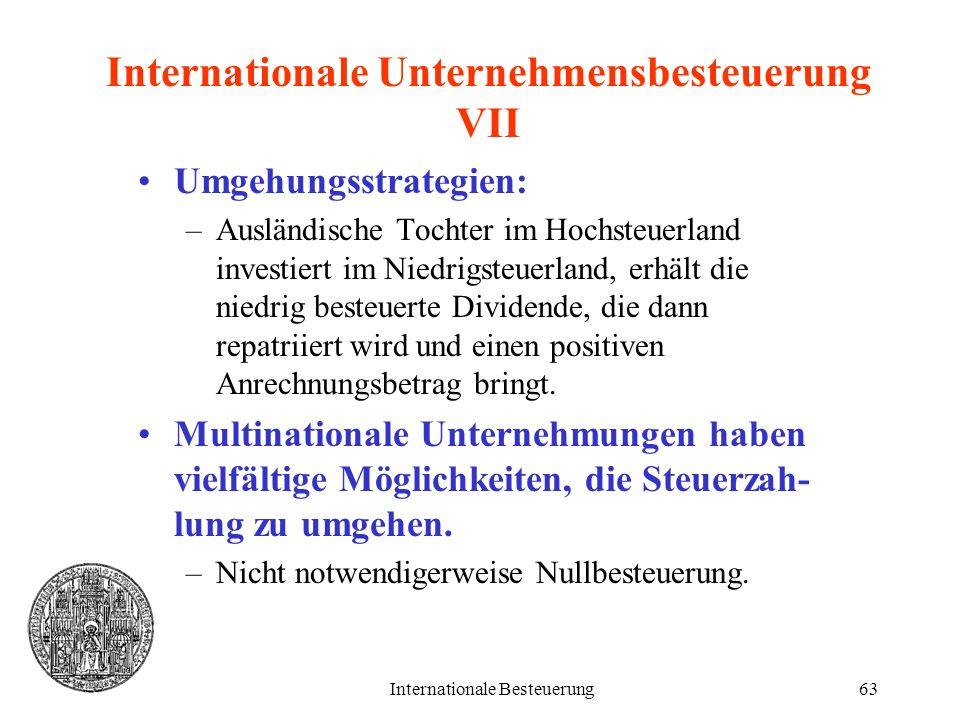 Internationale Besteuerung63 Internationale Unternehmensbesteuerung VII Umgehungsstrategien: –Ausländische Tochter im Hochsteuerland investiert im Nie