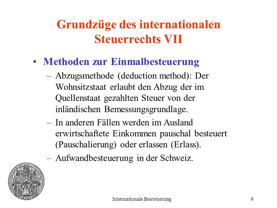Internationale Besteuerung9 Grundzüge des internationalen Steuerrechts VII Methoden zur Einmalbesteuerung –Abzugsmethode (deduction method): Der Wohns