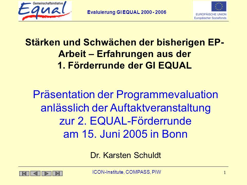 Evaluierung GI EQUAL 2000 - 2006 ICON-Institute, COMPASS, PIW 1 Stärken und Schwächen der bisherigen EP- Arbeit – Erfahrungen aus der 1. Förderrunde d