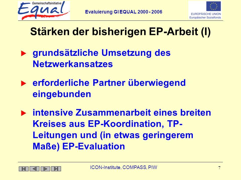 Evaluierung GI EQUAL 2000 - 2006 ICON-Institute, COMPASS, PIW 8 Stärken der bisherigen EP-Arbeit (II) Nutzung der Potenziale des strategischen Instrumentes Transnationale Kooperation Flexibilität und Anpassungsfähigkeit (hinsichtlich Zielen, Strategien usw.) an veränderte RahmenbedingungenAnpassungsfähigkeit