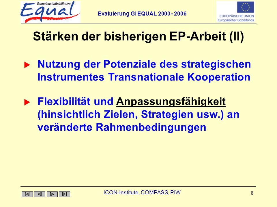 Evaluierung GI EQUAL 2000 - 2006 ICON-Institute, COMPASS, PIW 9 Ambivalente Bewertungen hinsichtlich der bisherigen EP-Arbeit Rolle der strategischen Partner Potenzial der EP-Evaluation nicht ausgeschöpft Innovationsniveauniveau umfeldspezifische Problemanalyse und darauf basierende Lösungsansätze Partnerauswahl