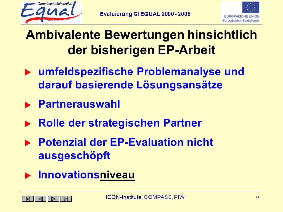 Evaluierung GI EQUAL 2000 - 2006 ICON-Institute, COMPASS, PIW 9 Ambivalente Bewertungen hinsichtlich der bisherigen EP-Arbeit Rolle der strategischen