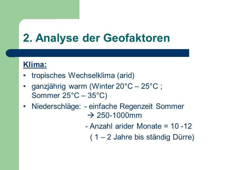 2. Analyse der Geofaktoren Klima: tropisches Wechselklima (arid) ganzjährig warm (Winter 20°C – 25°C ; Sommer 25°C – 35°C) Niederschläge: - einfache R