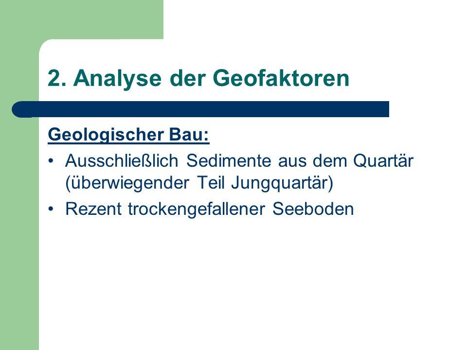 2. Analyse der Geofaktoren Geologischer Bau: Ausschließlich Sedimente aus dem Quartär (überwiegender Teil Jungquartär) Rezent trockengefallener Seebod