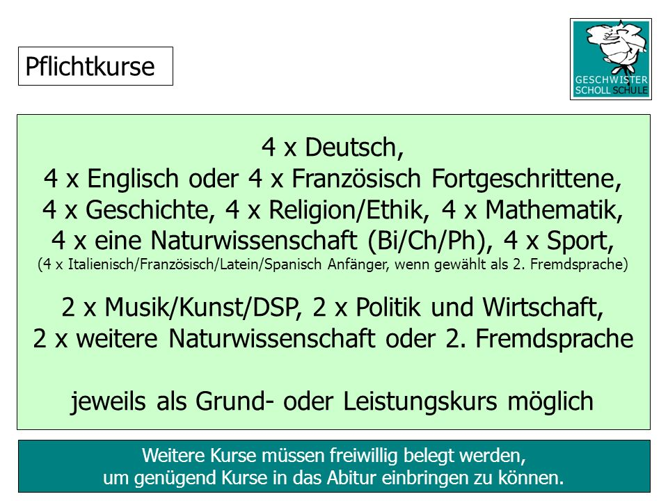 Weitere Kurse müssen freiwillig belegt werden, um genügend Kurse in das Abitur einbringen zu können. 4 x Deutsch, 4 x Englisch oder 4 x Französisch Fo