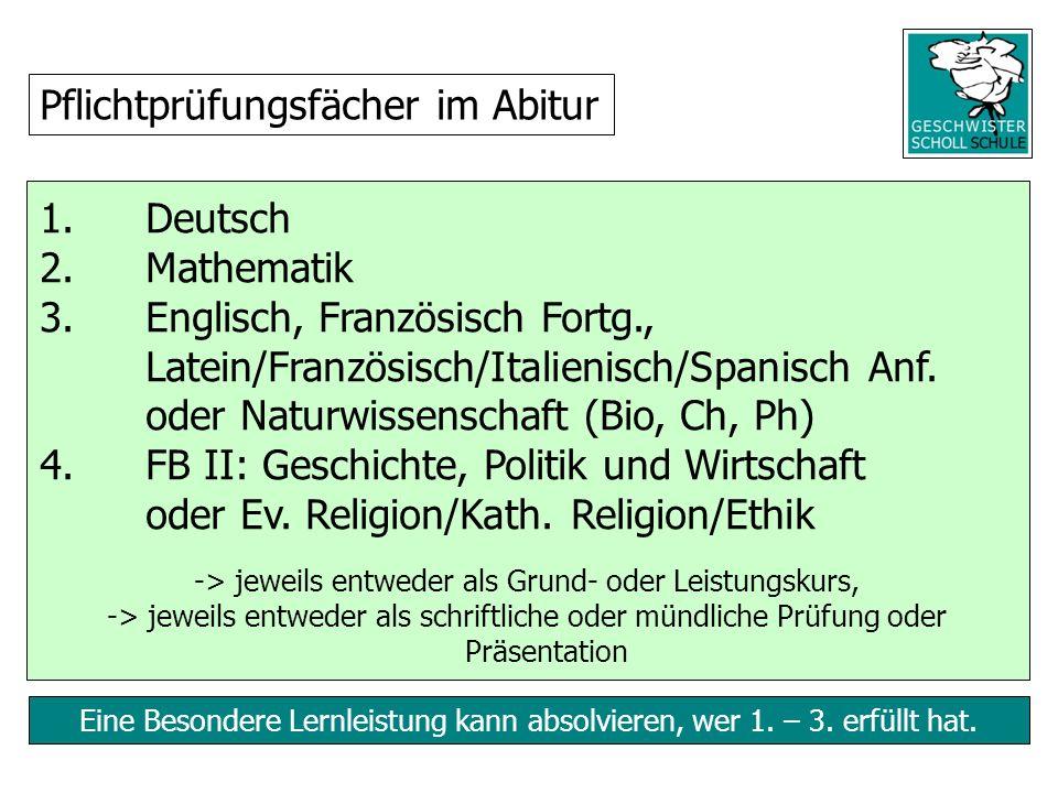 Eine Besondere Lernleistung kann absolvieren, wer 1. – 3. erfüllt hat. 1. Deutsch 2. Mathematik 3.Englisch, Französisch Fortg., Latein/Französisch/Ita