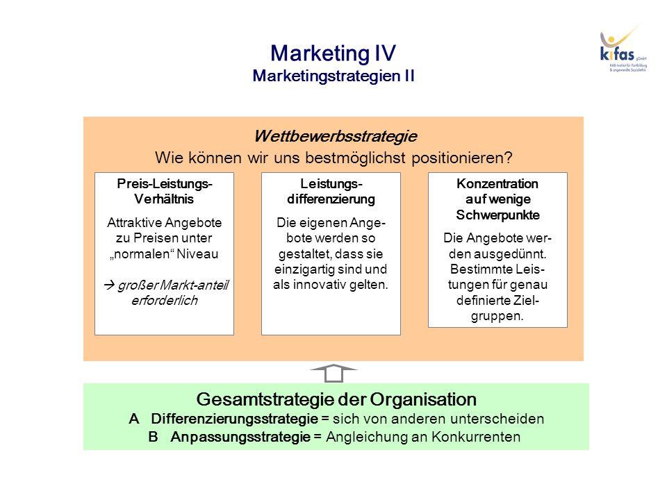 Marketing IV Marketingstrategien III Gesamtstrategie der Organisation A Differenzierungsstrategie = sich von anderen unterscheiden B Anpassungsstrategie = Angleichung an Konkurrenten Produktstrategie Wie können wir uns dauerhaft Marktanteile sichern.