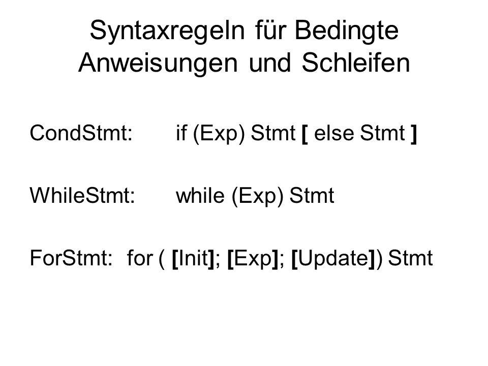 Syntaxregeln für Bedingte Anweisungen und Schleifen CondStmt:if (Exp) Stmt [ else Stmt ] WhileStmt:while (Exp) Stmt ForStmt:for ( [Init]; [Exp]; [Upda