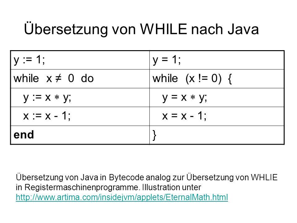 Übersetzung von WHILE nach Java y := 1;y = 1; while x 0 dowhile (x != 0) { y := x y; y = x y; x := x - 1; x = x - 1; end} Übersetzung von Java in Byte