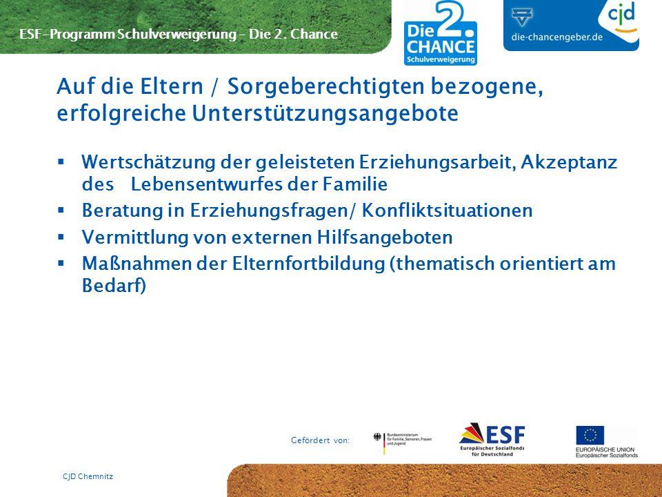 ESF-Programm Schulverweigerung – Die 2. Chance Gefördert von: Wertschätzung der geleisteten Erziehungsarbeit, Akzeptanz des Lebensentwurfes der Famili