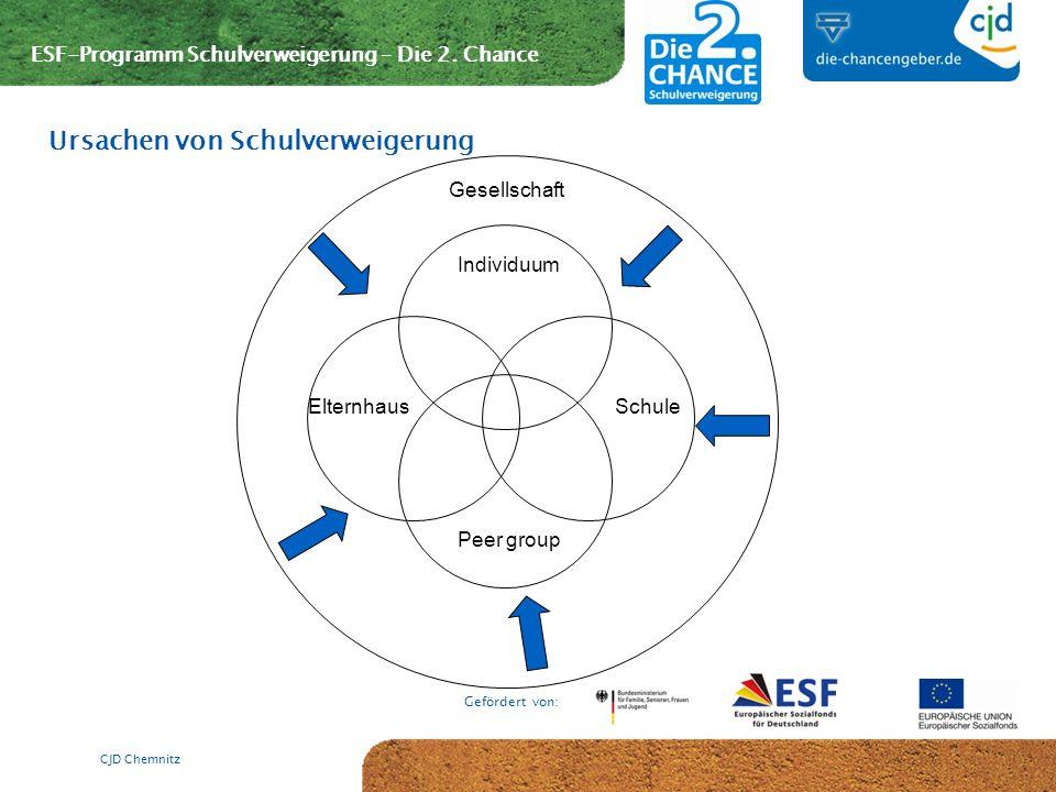 ESF-Programm Schulverweigerung – Die 2. Chance Gefördert von: CJD Chemnitz Ursachen von Schulverweigerung Individuum ElternhausSchule Gesellschaft Pee