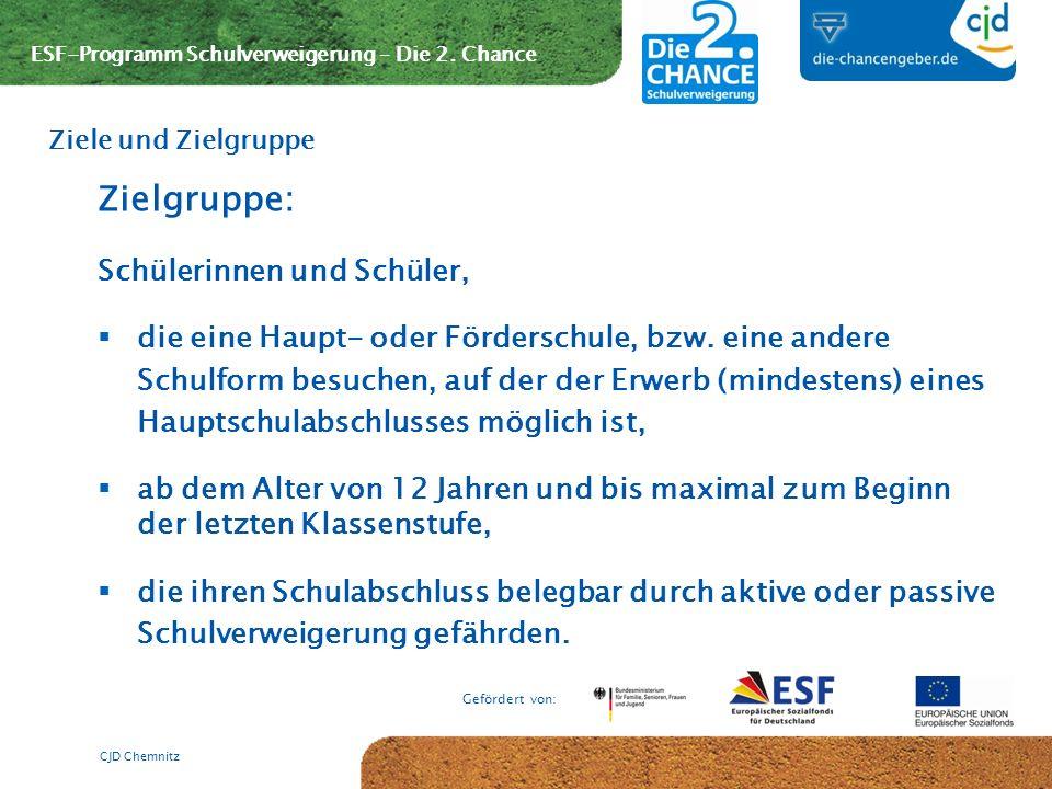 ESF-Programm Schulverweigerung – Die 2. Chance Gefördert von: CJD Chemnitz Zielgruppe: Schülerinnen und Schüler, die eine Haupt- oder Förderschule, bz