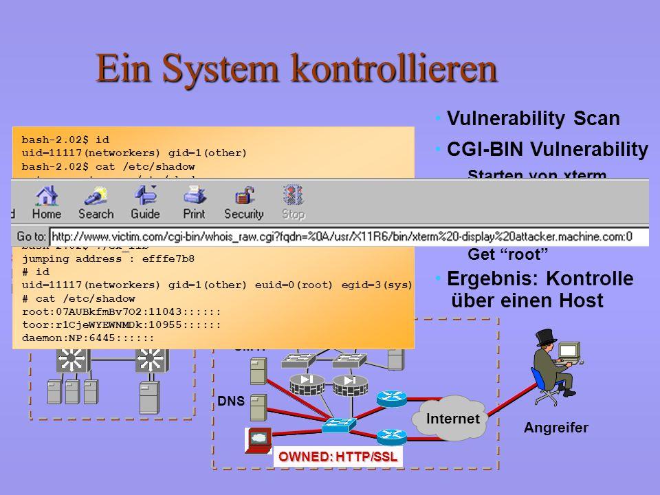 Netzwerkerkundung Angreifer Scorecard: Scorecard: Network Security Hacker SMTP DNS HTTP/SSL 00000000 IP-Adressen erkunden Ports scannen Andere Hilfsmi