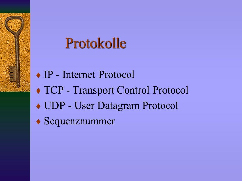 Protokolle IP - Internet Protocol TCP - Transport Control Protocol UDP - User Datagram Protocol Sequenznummer