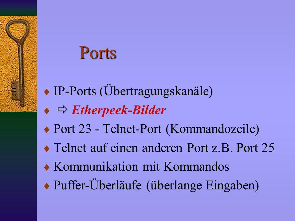 Ports IP-Ports (Übertragungskanäle) Etherpeek-Bilder Port 23 - Telnet-Port (Kommandozeile) Telnet auf einen anderen Port z.B.