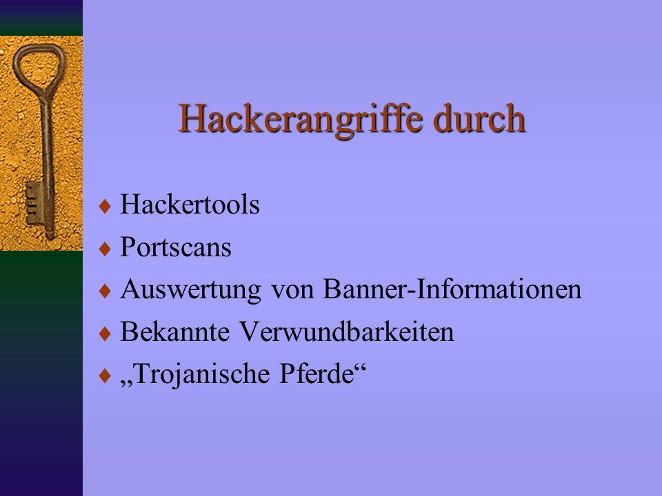 Hackerangriffe durch Hackertools Portscans Auswertung von Banner-Informationen Bekannte Verwundbarkeiten Trojanische Pferde