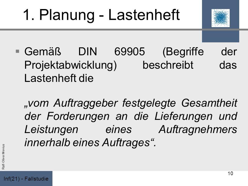 Inf(21) - Fallstudie Ralf-Oliver Mevius 1. Planung - Lastenheft Gemäß DIN 69905 (Begriffe der Projektabwicklung) beschreibt das Lastenheft die vom Auf