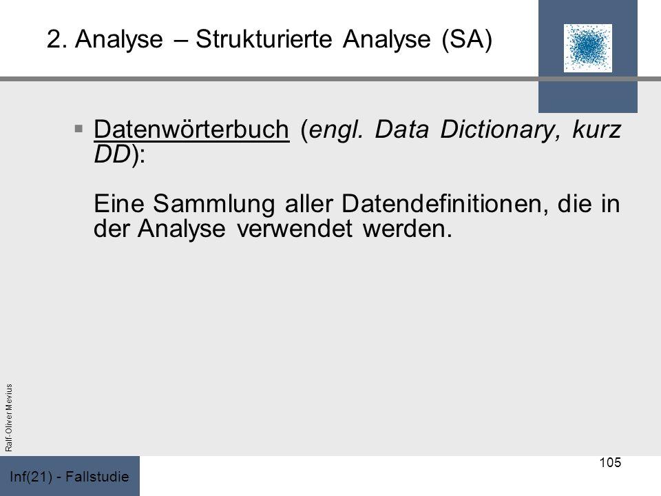 Inf(21) - Fallstudie Ralf-Oliver Mevius 2. Analyse – Strukturierte Analyse (SA) Datenwörterbuch (engl. Data Dictionary, kurz DD): Eine Sammlung aller