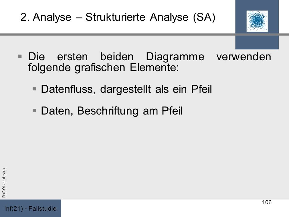 Inf(21) - Fallstudie Ralf-Oliver Mevius 2. Analyse – Strukturierte Analyse (SA) Die ersten beiden Diagramme verwenden folgende grafischen Elemente: Da