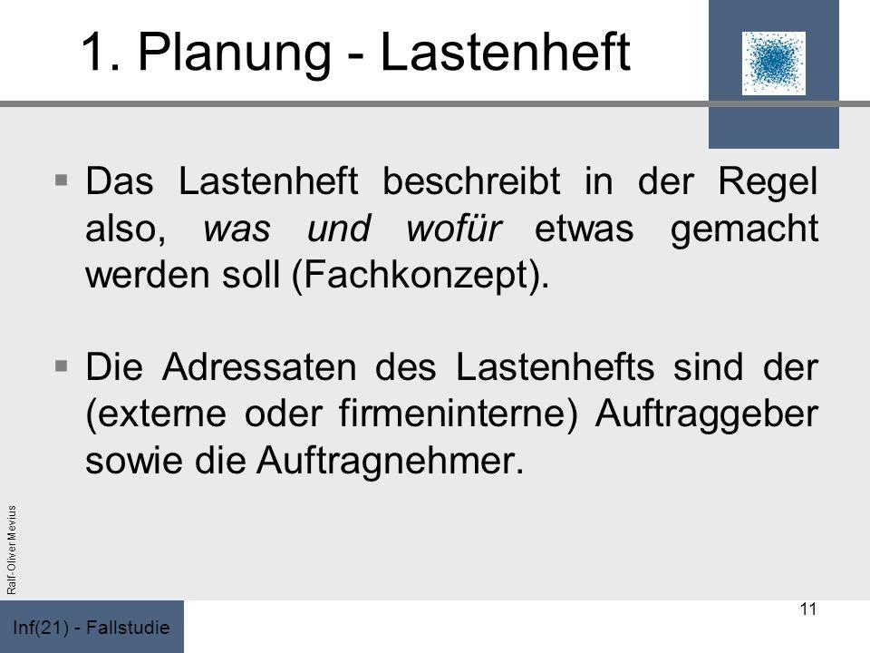 Inf(21) - Fallstudie Ralf-Oliver Mevius 1. Planung - Lastenheft Das Lastenheft beschreibt in der Regel also, was und wofür etwas gemacht werden soll (