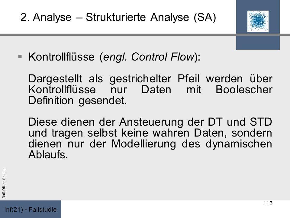 Inf(21) - Fallstudie Ralf-Oliver Mevius 2. Analyse – Strukturierte Analyse (SA) Kontrollflüsse (engl. Control Flow): Dargestellt als gestrichelter Pfe