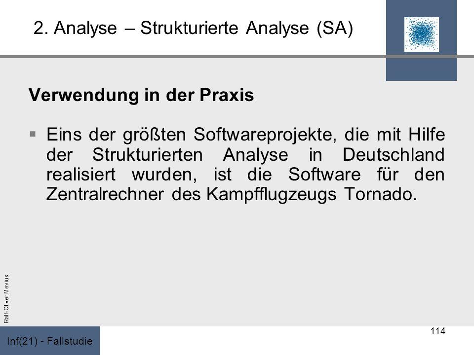 Inf(21) - Fallstudie Ralf-Oliver Mevius 2. Analyse – Strukturierte Analyse (SA) Verwendung in der Praxis Eins der größten Softwareprojekte, die mit Hi