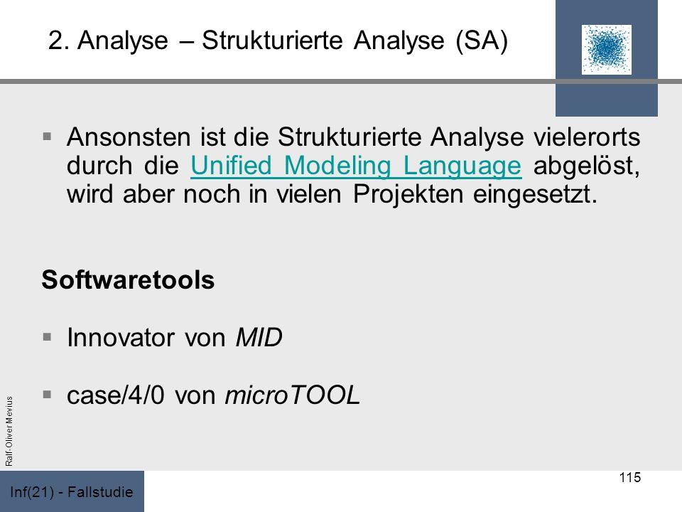 Inf(21) - Fallstudie Ralf-Oliver Mevius 2. Analyse – Strukturierte Analyse (SA) Ansonsten ist die Strukturierte Analyse vielerorts durch die Unified M