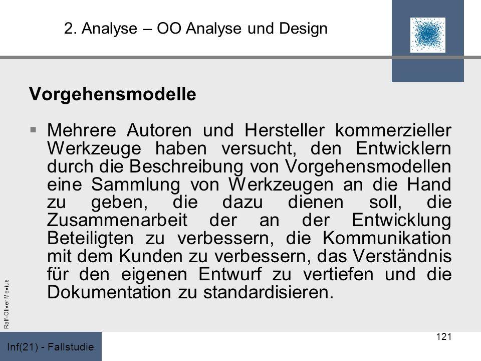 Inf(21) - Fallstudie Ralf-Oliver Mevius 2. Analyse – OO Analyse und Design Vorgehensmodelle Mehrere Autoren und Hersteller kommerzieller Werkzeuge hab