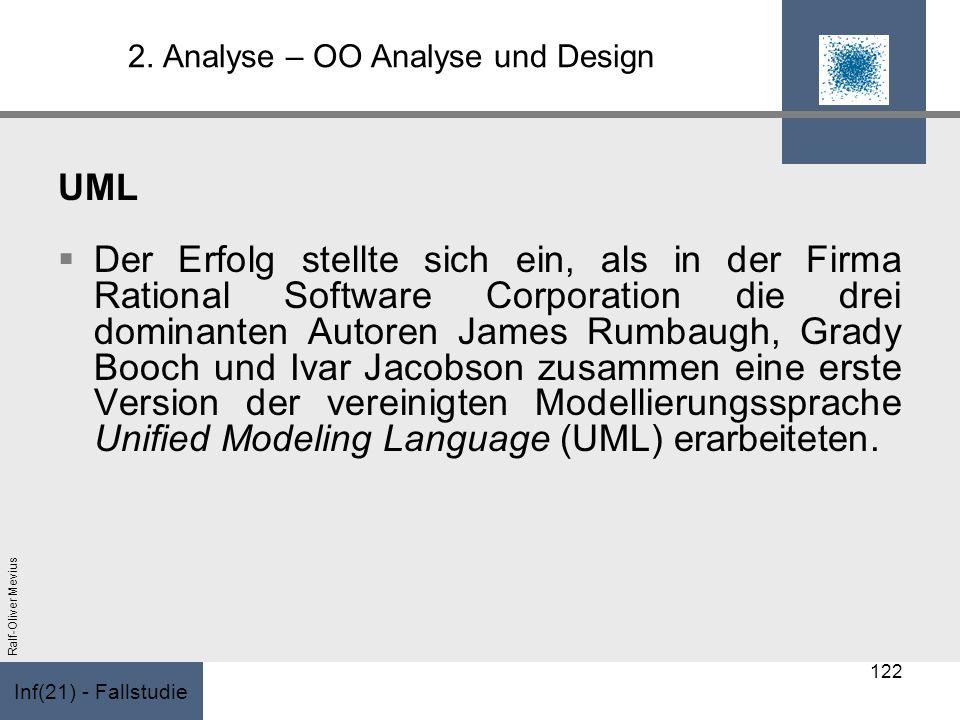 Inf(21) - Fallstudie Ralf-Oliver Mevius 2. Analyse – OO Analyse und Design UML Der Erfolg stellte sich ein, als in der Firma Rational Software Corpora