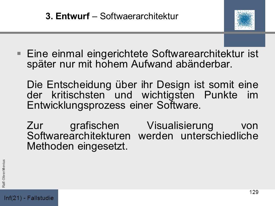 Inf(21) - Fallstudie Ralf-Oliver Mevius 3. Entwurf – Softwaerarchitektur Eine einmal eingerichtete Softwarearchitektur ist später nur mit hohem Aufwan