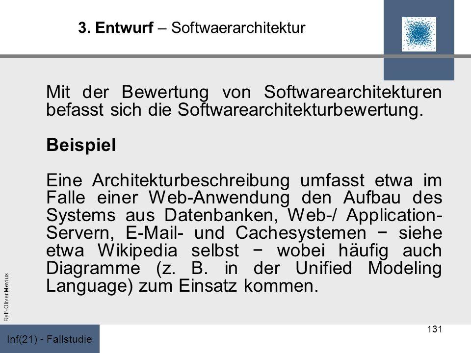 Inf(21) - Fallstudie Ralf-Oliver Mevius 3. Entwurf – Softwaerarchitektur Mit der Bewertung von Softwarearchitekturen befasst sich die Softwarearchitek