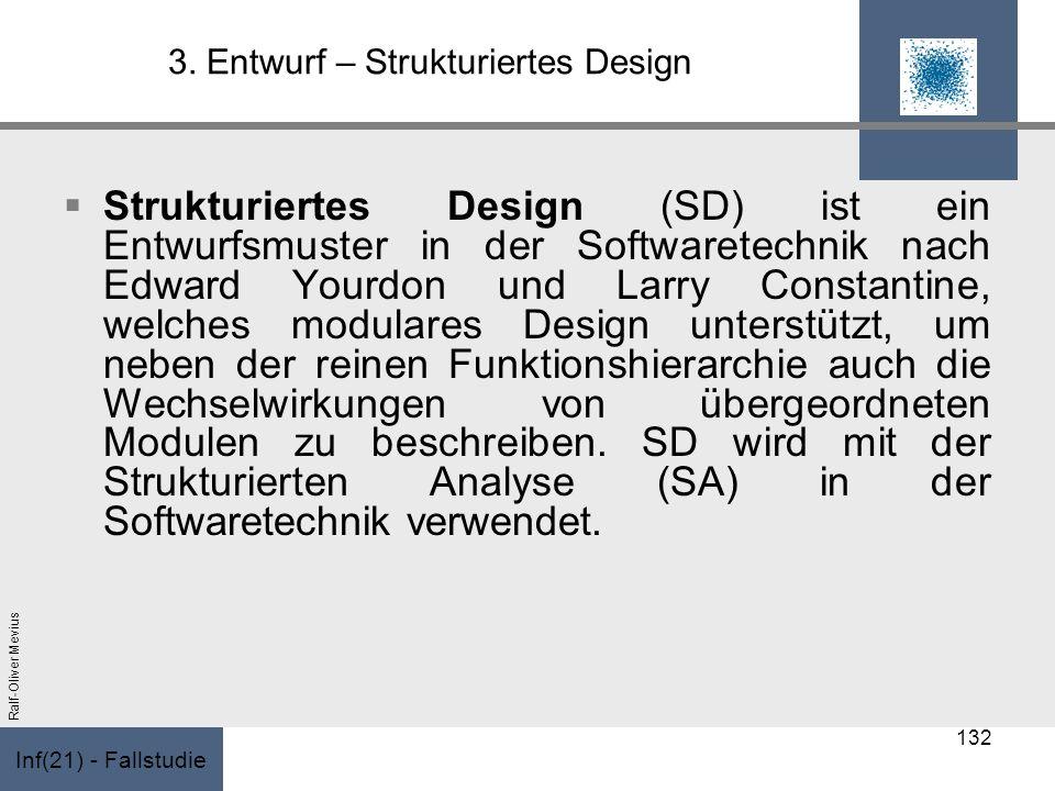 Inf(21) - Fallstudie Ralf-Oliver Mevius 3. Entwurf – Strukturiertes Design Strukturiertes Design (SD) ist ein Entwurfsmuster in der Softwaretechnik na
