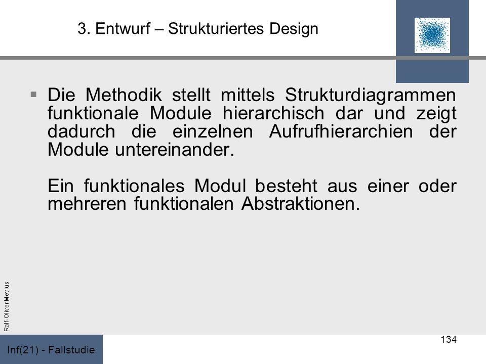 Inf(21) - Fallstudie Ralf-Oliver Mevius 3. Entwurf – Strukturiertes Design Die Methodik stellt mittels Strukturdiagrammen funktionale Module hierarchi