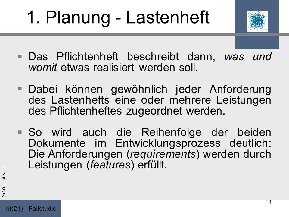 Inf(21) - Fallstudie Ralf-Oliver Mevius 1. Planung - Lastenheft Das Pflichtenheft beschreibt dann, was und womit etwas realisiert werden soll. Dabei k