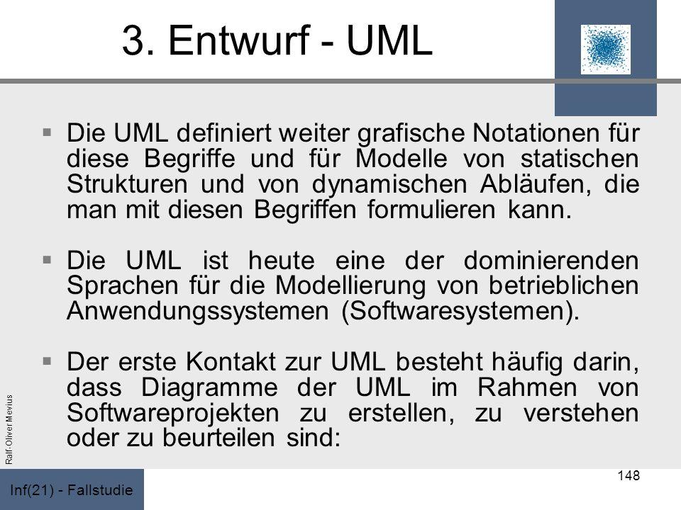 Inf(21) - Fallstudie Ralf-Oliver Mevius 3. Entwurf - UML Die UML definiert weiter grafische Notationen für diese Begriffe und für Modelle von statisch