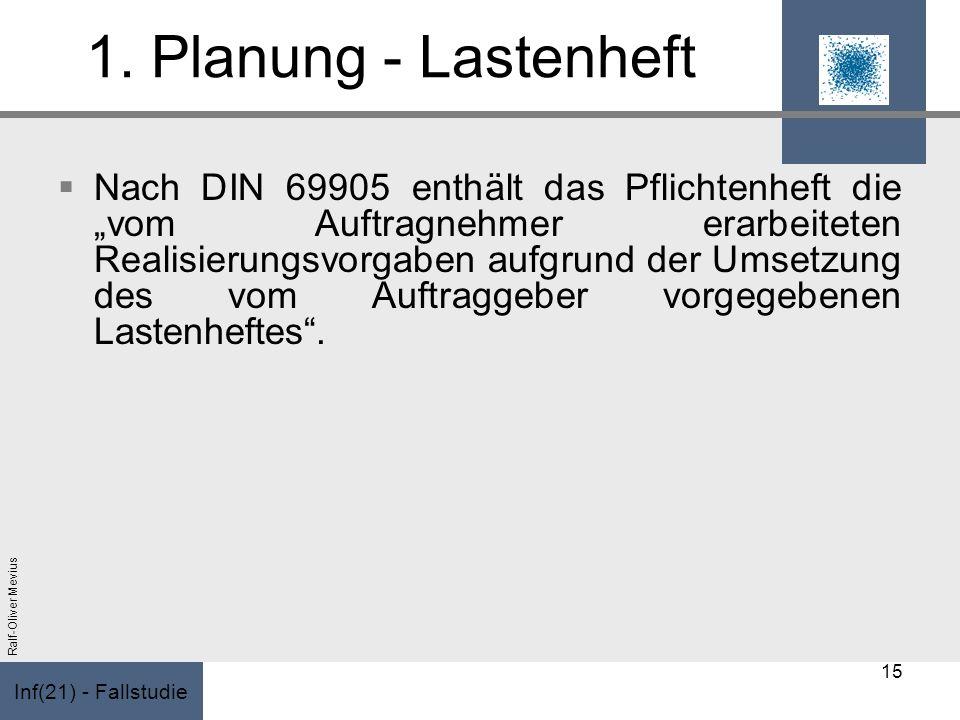 Inf(21) - Fallstudie Ralf-Oliver Mevius 1. Planung - Lastenheft Nach DIN 69905 enthält das Pflichtenheft die vom Auftragnehmer erarbeiteten Realisieru