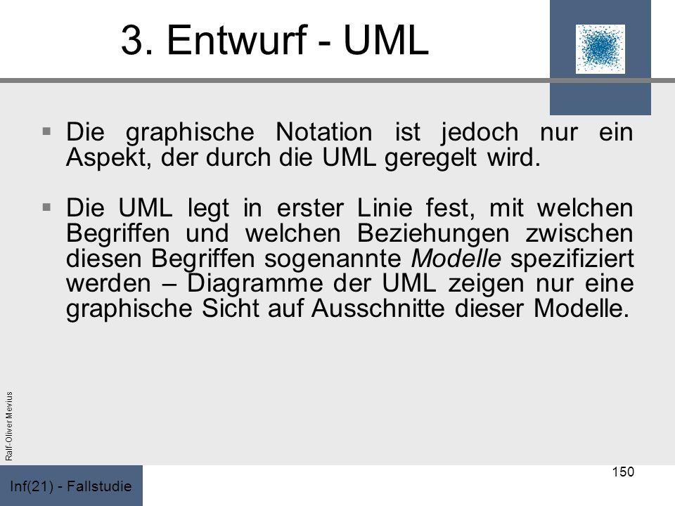 Inf(21) - Fallstudie Ralf-Oliver Mevius 3. Entwurf - UML Die graphische Notation ist jedoch nur ein Aspekt, der durch die UML geregelt wird. Die UML l