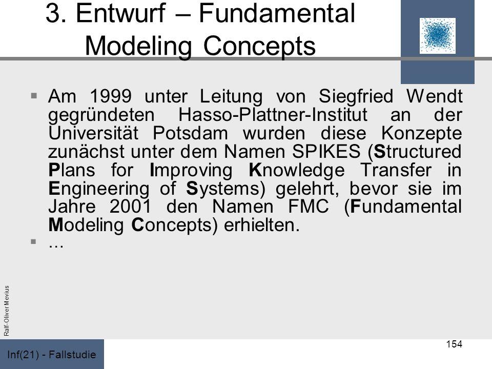 Inf(21) - Fallstudie Ralf-Oliver Mevius 3. Entwurf – Fundamental Modeling Concepts Am 1999 unter Leitung von Siegfried Wendt gegründeten Hasso-Plattne