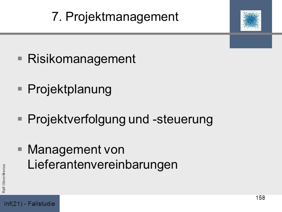 Inf(21) - Fallstudie Ralf-Oliver Mevius 7. Projektmanagement Risikomanagement Projektplanung Projektverfolgung und -steuerung Management von Lieferant