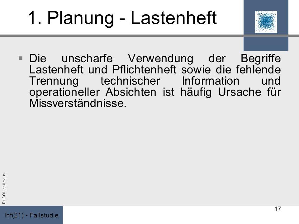 Inf(21) - Fallstudie Ralf-Oliver Mevius 1. Planung - Lastenheft Die unscharfe Verwendung der Begriffe Lastenheft und Pflichtenheft sowie die fehlende