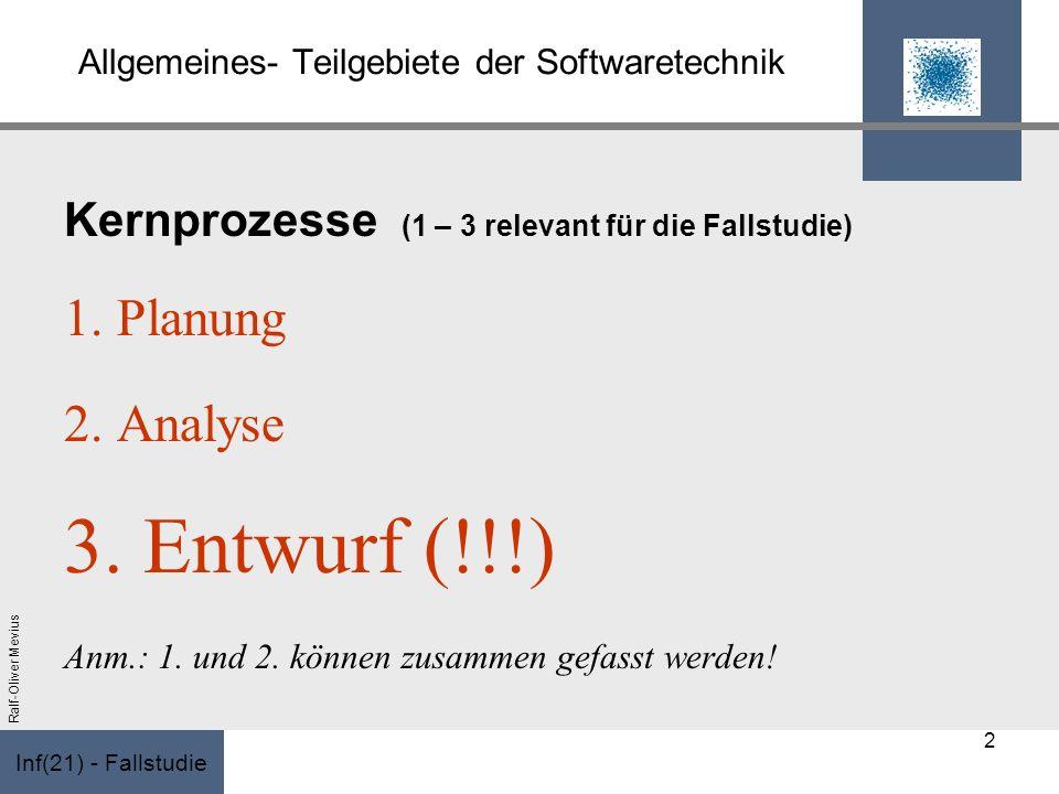 Inf(21) - Fallstudie Ralf-Oliver Mevius Allgemeines- Teilgebiete der Softwaretechnik Kernprozesse (1 – 3 relevant für die Fallstudie) 1. Planung 2. An
