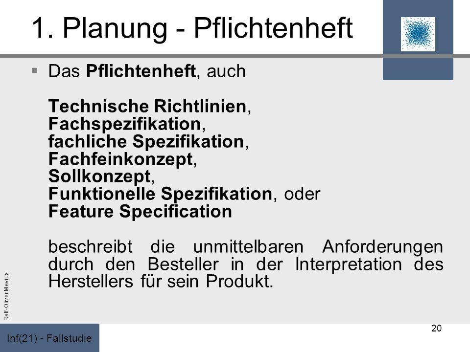 Inf(21) - Fallstudie Ralf-Oliver Mevius 1. Planung - Pflichtenheft Das Pflichtenheft, auch Technische Richtlinien, Fachspezifikation, fachliche Spezif