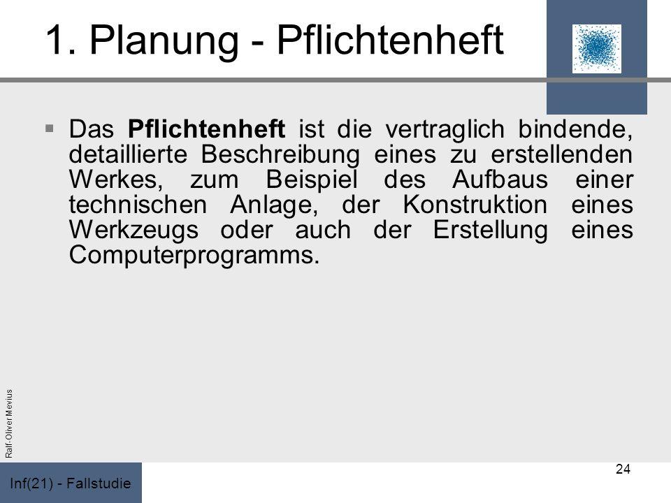 Inf(21) - Fallstudie Ralf-Oliver Mevius 1. Planung - Pflichtenheft Das Pflichtenheft ist die vertraglich bindende, detaillierte Beschreibung eines zu